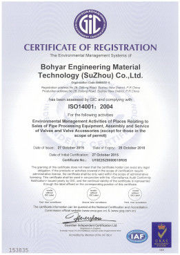 China Bohyar Engineering Material Technology(Suzhou)Co., Ltd Certification